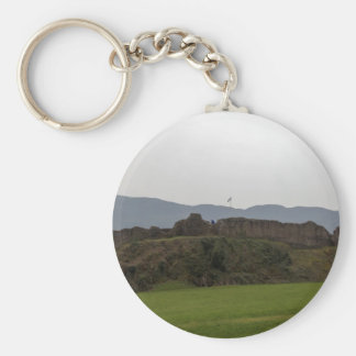 Saltire and ruins of Urquhart castle in Scotland Key Chain