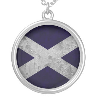 Saltire Grunge Silver Plated Necklace