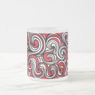 Salton Abstract Expression Red Black Frosted Glass Mug