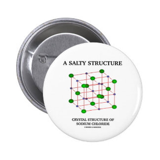 Salty Structure Crystal Structure Sodium Chloride 6 Cm Round Badge