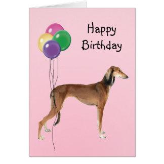Saluki, Birthday Balloons Card