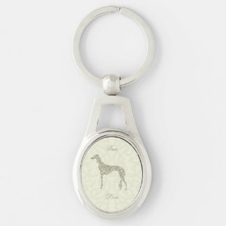 Saluki Collection Silver-Colored Oval Key Ring