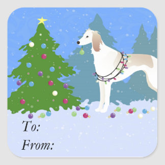 Saluki decorating a Christmas tree in the forest Square Sticker