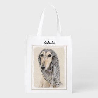 Saluki (Fawn) Painting - Cute Original Dog Art Reusable Grocery Bag