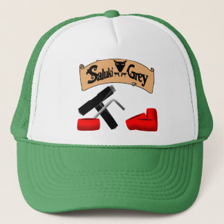 saluki grey banner skate tool and wheels trucker hat