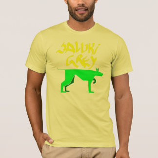 Saluki grey logo and graffitti font yellow and gre T-Shirt