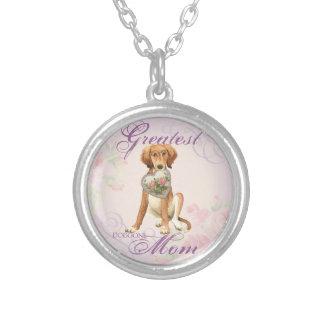 Saluki Heart Mom Round Pendant Necklace