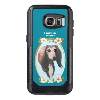 Saluki on Teal Floral OtterBox Samsung Galaxy S7 Case