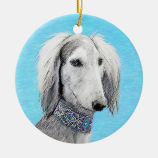 Saluki (Silver) Painting - Cute Original Dog Art Christmas Ornament