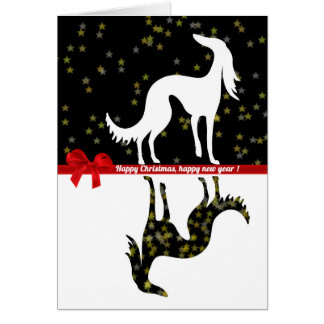 Saluki YIN Happy Christmas, Happy new year Card