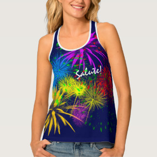 Salute Colorful Fireworks funny customizable Tank Top