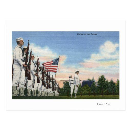 Salute to the Colors Formation - US Navy Postcards