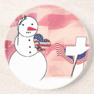 Saluting Snowman for Memorial Day Drink Coaster
