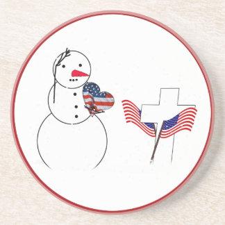 Saluting Snowman for Memorial Day Coaster
