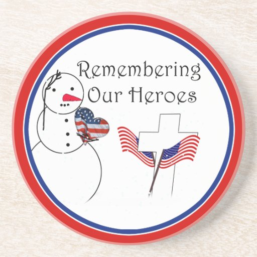 Saluting Snowman With American Flag Heart Coasters
