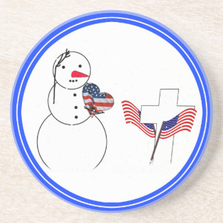 Saluting Snowman With American Flag Heart Beverage Coasters