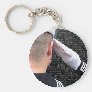 Saluting the Vietnam Memorial Wall Key Ring