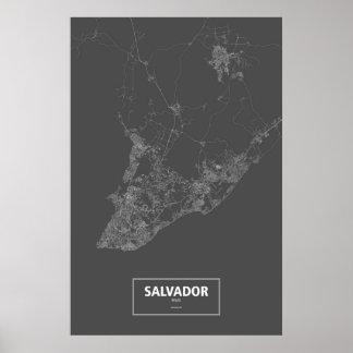 Salvador, Brazil (white on black) Poster