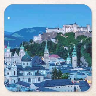Salzburg city, Austria Square Paper Coaster