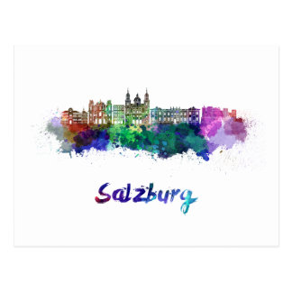 Salzburg skyline in watercolor postcard