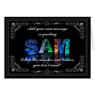 Sam -  Name in Lights greeting card (Photo)