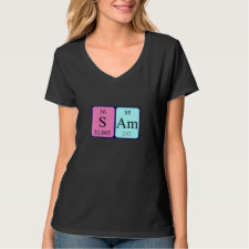 Shirt featuring the name Sam spelled out in symbols of the chemical elements