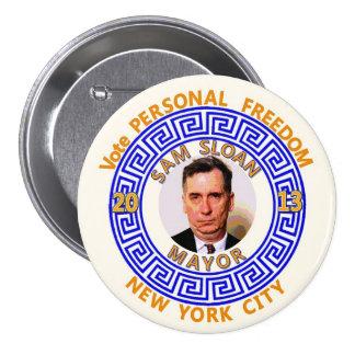 Sam Sloan for NYC Mayor 2013 7.5 Cm Round Badge