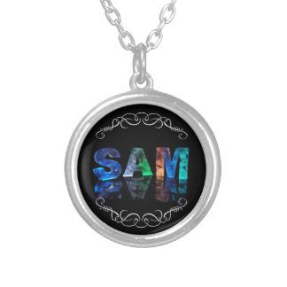 Sam  - The Name Sam in 3D Lights (Photograph) Silver Plated Necklace