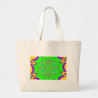 Samba Colorful Bright floral damask design colors Jumbo Tote Bag