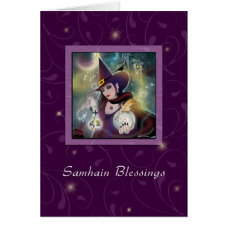 Samhain Blessings - Witch Purple Sparkle Card
