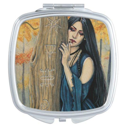 Samhain Gothic Autumn Witch Compact Mirror