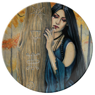 Samhain Gothic Autumn Witch Decorative Plate