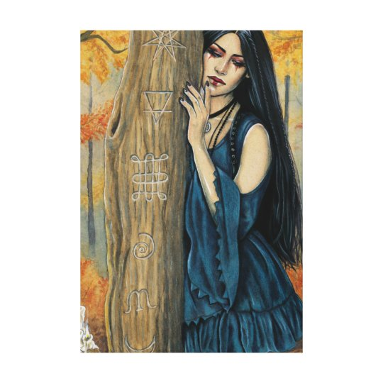 Samhain Gothic Autumn Witch Fantasy Art Canvas