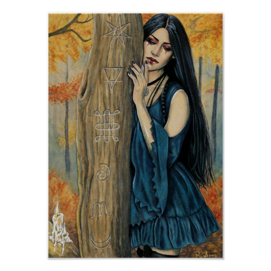 Samhain Gothic Autumn Witch Fantasy Art Poster