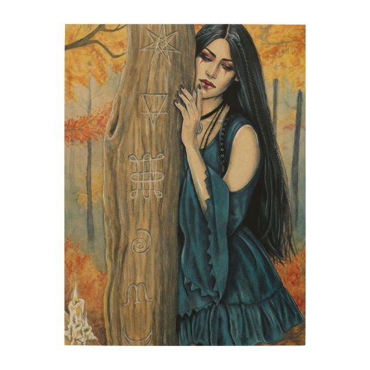 Samhain Gothic Autumn Witch Fantasy Wood Wall Art