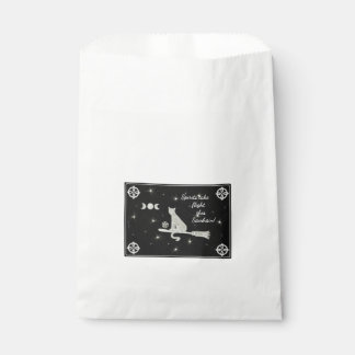 Samhain Magick Cat on Broom Black and White Favour Bags