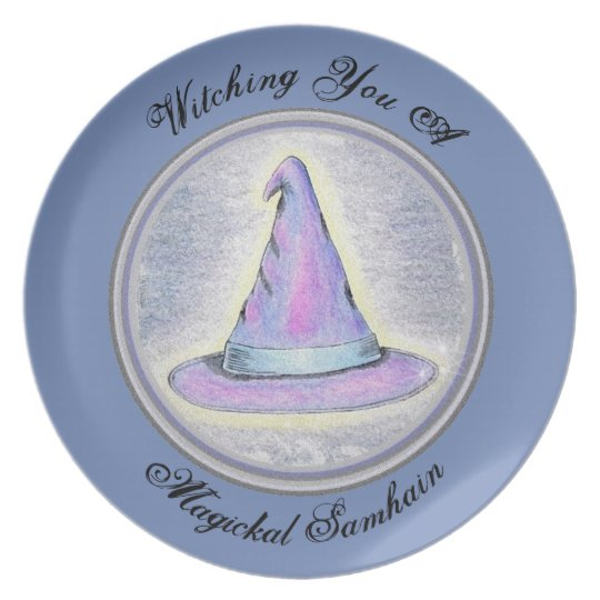 Samhain Witch Wizard Pagan Hat Plate