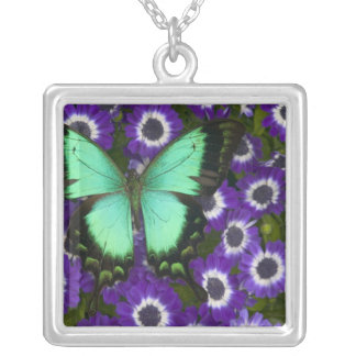 Sammamish Washington Photograph of Butterfly 7 Silver Plated Necklace