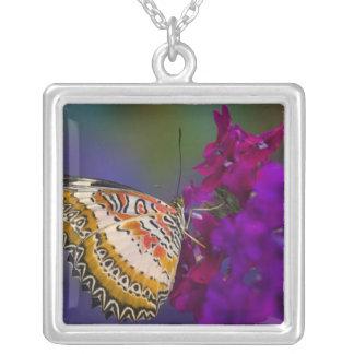 Sammamish, Washington. Tropical Butterflies 64 Square Pendant Necklace