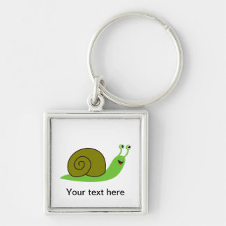 Sammy the Green Garden Snail Silver-Colored Square Key Ring