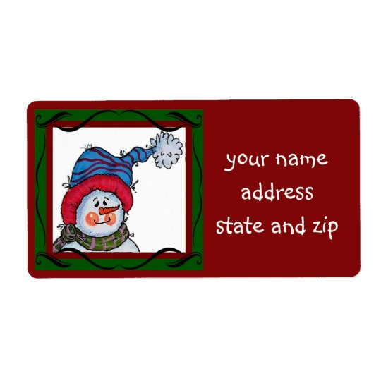 Sammy the Snowman Address Label