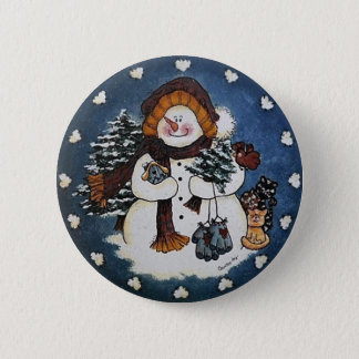 Sammy the Snowman Button Pin
