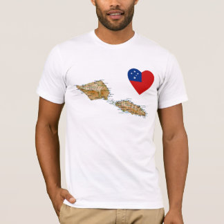 Samoa Flag Heart and Map T-Shirt