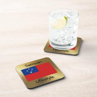 Samoa Flag+Text Coaster