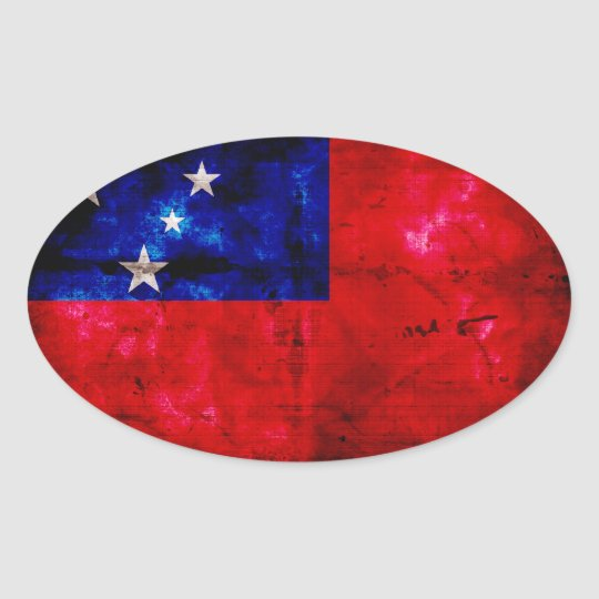 Samoan Flag Oval Sticker