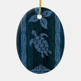 Samoan Tapa Hawaiian Faux Wood Surfboard Christmas Ornament