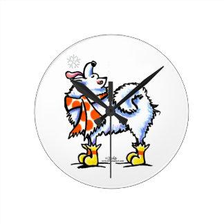 Samoyed American Eskimo Dog Snowflake Clocks