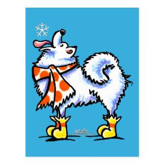 Samoyed American Eskimo Dog Snowflake Post Card