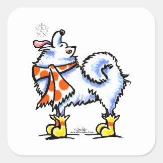 Samoyed American Eskimo Dog Snowflake Square Sticker