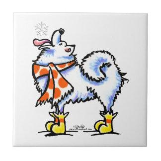 Samoyed American Eskimo Dog Snowflake Ceramic Tile
